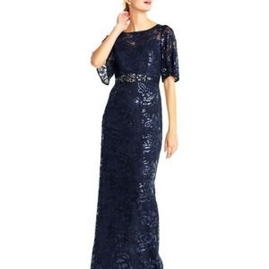 Adrianna Papell sequin embroidered maxi dr…